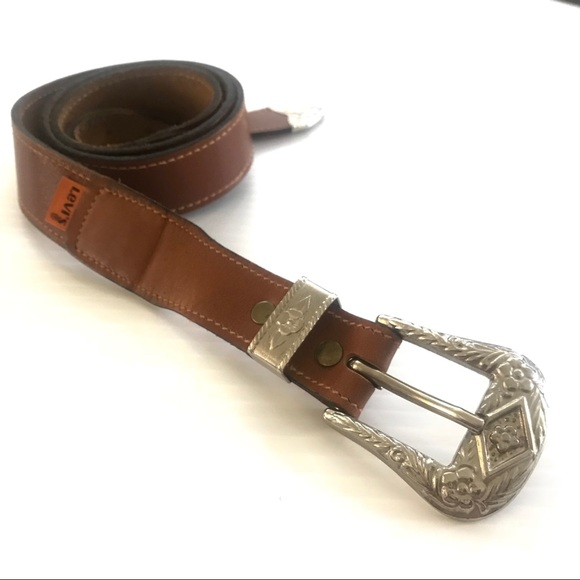Levi s Accessories   Levis Vintage Western Style Brown Leather Belt ... a1f49a57e24